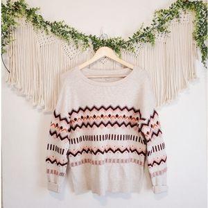 LOFT Multicolor Fairisle Embroidered Long Sleeve Knit Wool Sweater sz L